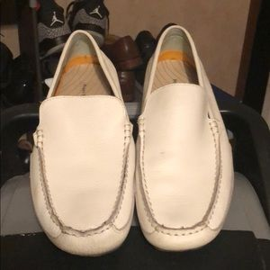 White loafer slip on shoes